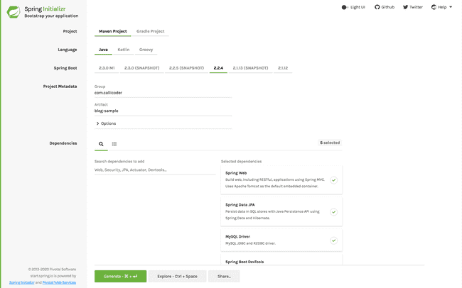 Scaffolding your Spring Boot Application
