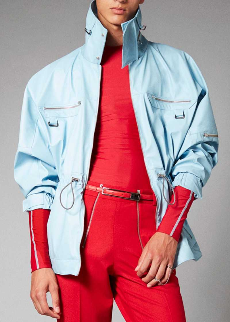 ADHIL vegan leather jacket in light blue. GmbH Spring/Summer 2021 'RITUALS OF RESISTANCE'