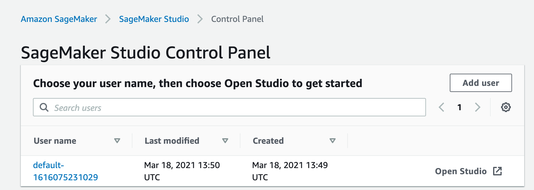 SageMaker control panel