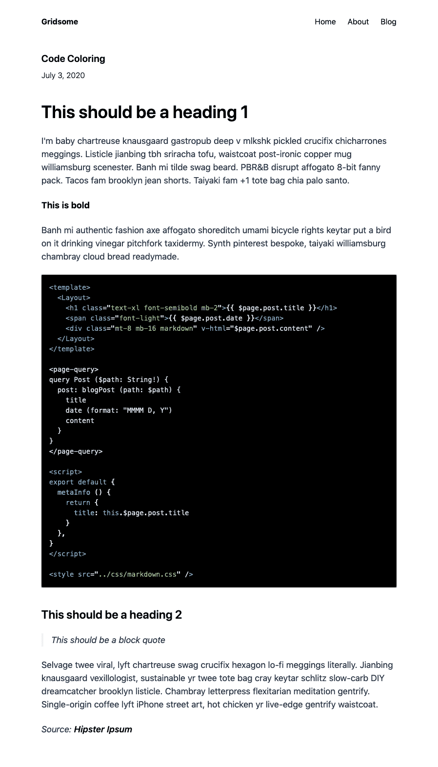 Blog post with syntax highlighting