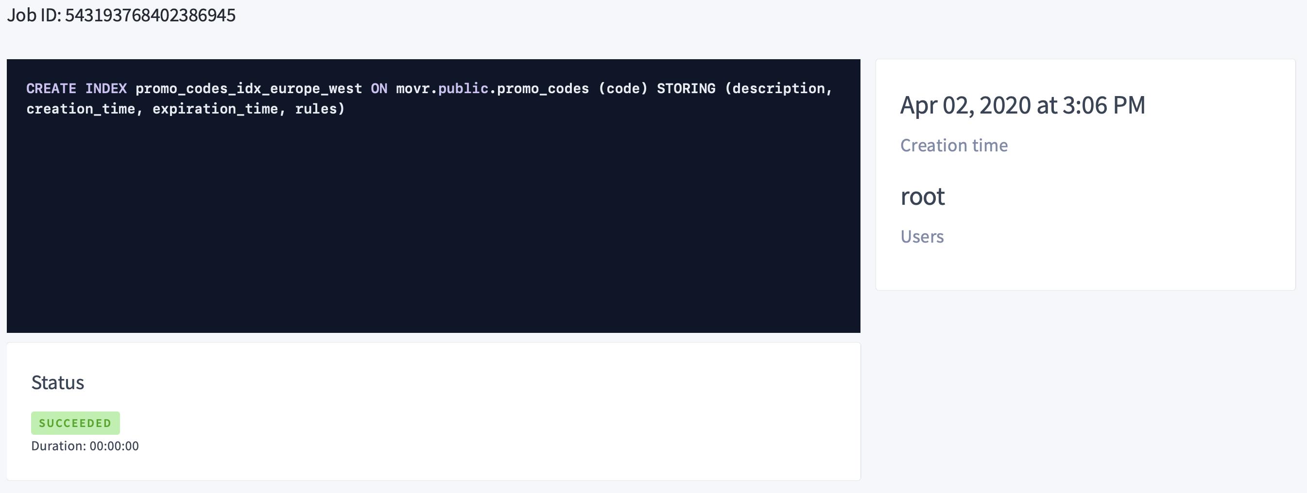 CockroachDB Admin UI Jobs Page