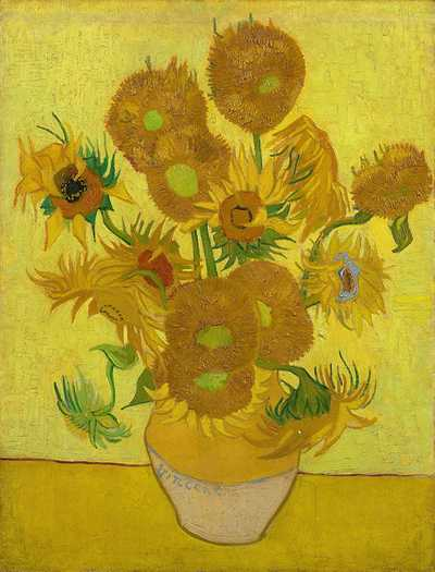 Sunflowers by Vincent Van Gogh, repetition of the 4th version (yellow background), August 1889. Van Gogh Museum, Amsterdam