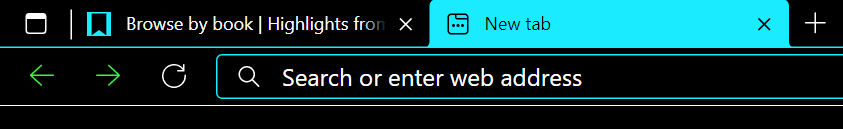 The favicon on an inactive browser tab. It's a black ribbon on a teal background, which sticks out a bit on the tab's black background.