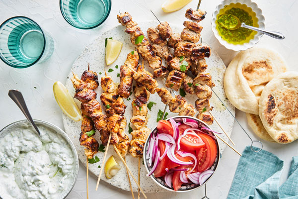 Greek style souvlaki with homemade tzatziki