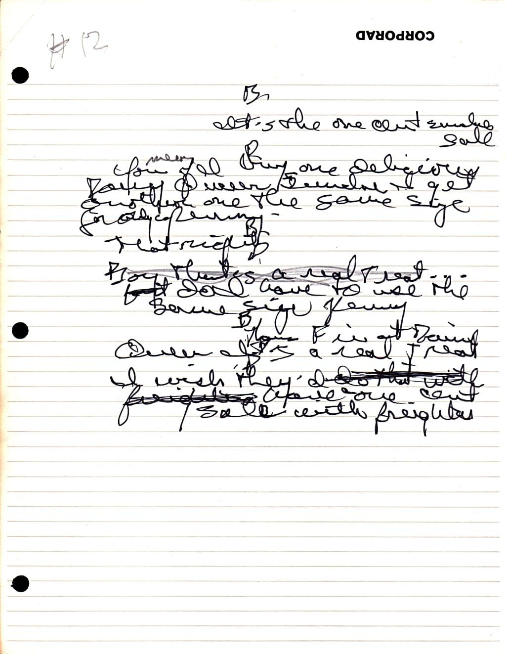 Pat McCormick's handwriting