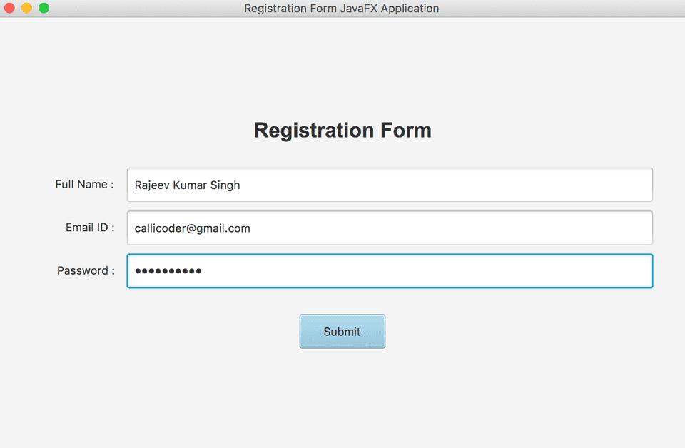 JavaFX layout registration form example