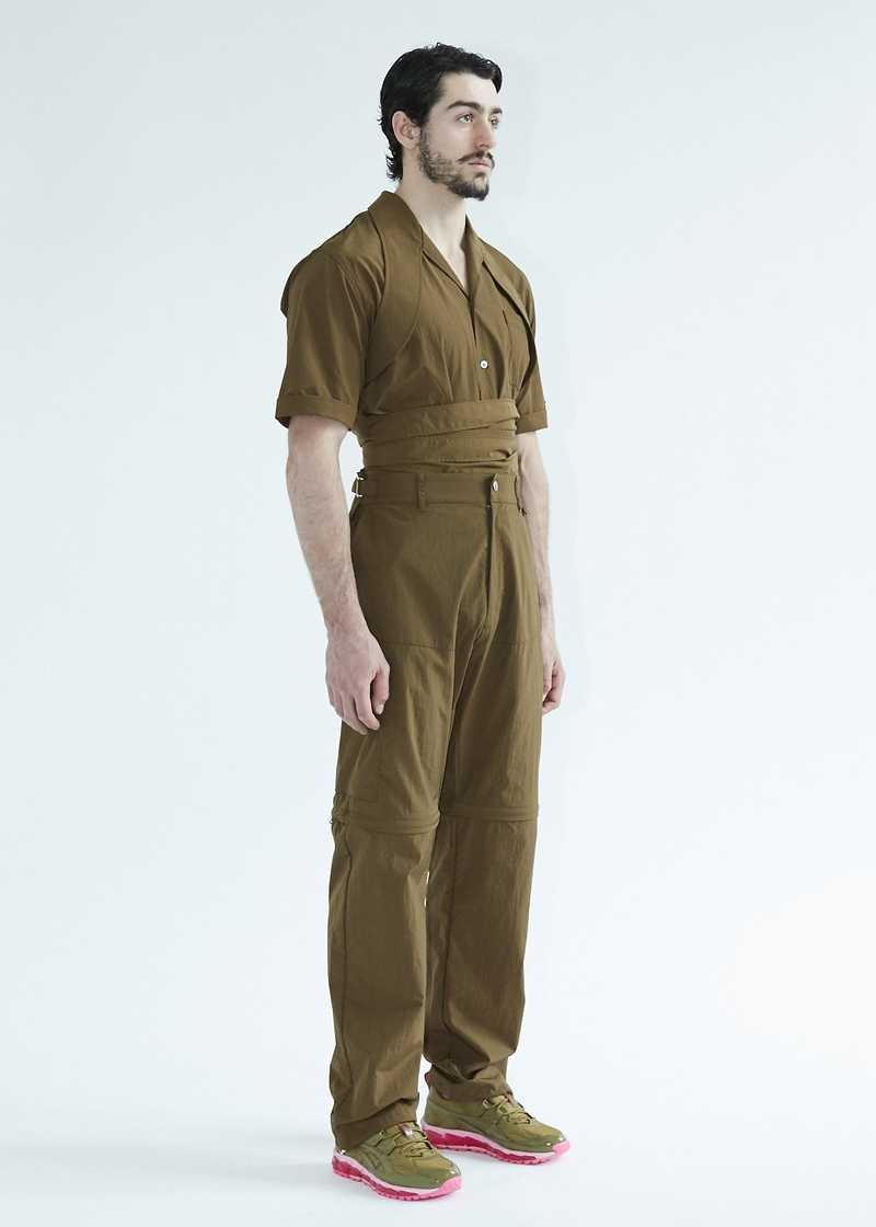 Latif SS20 Bowling shirt with harness khaki. GmbH SS20 collection.