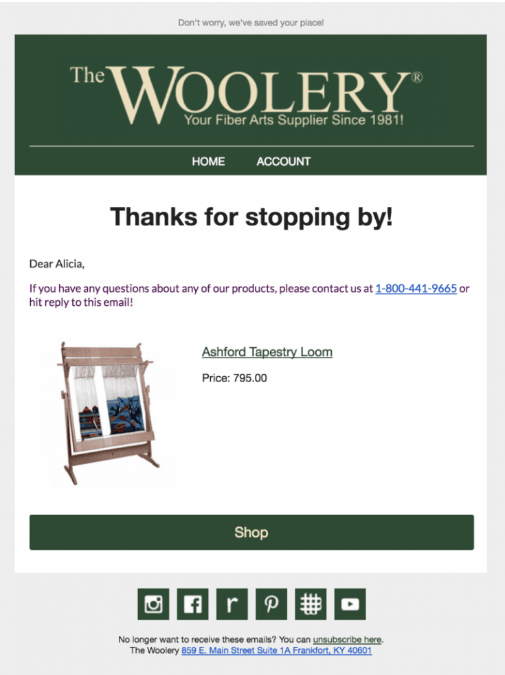 Woolery thank you email