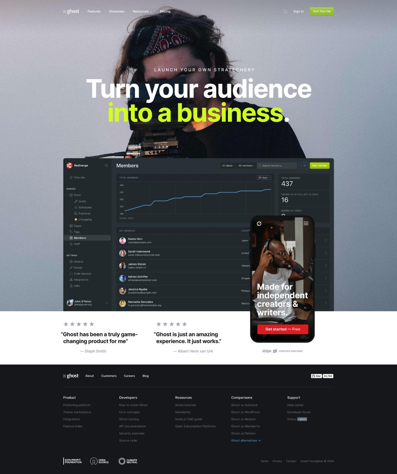 Ghost CMS Website Homepage