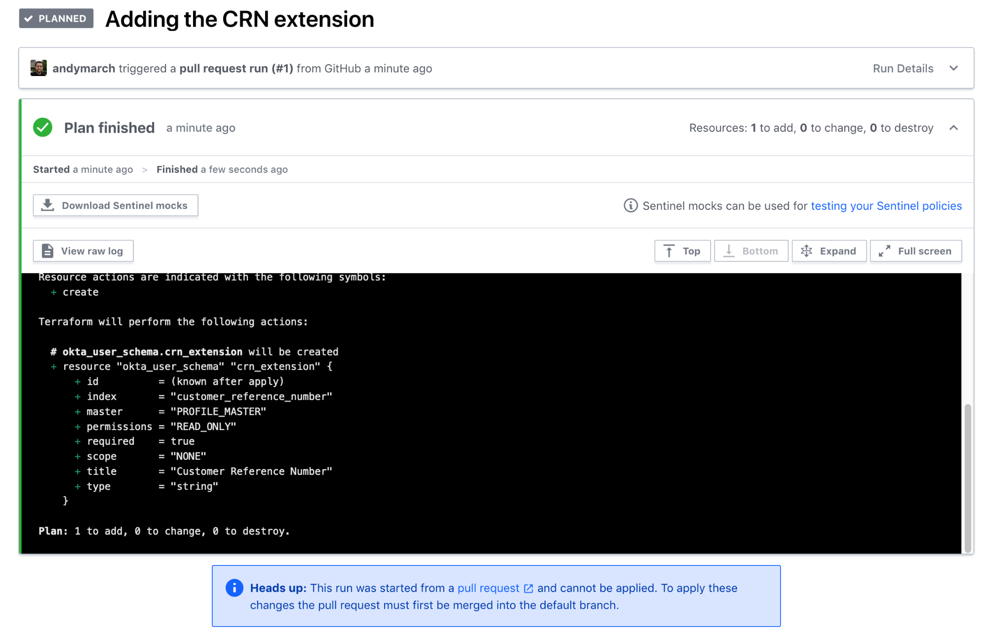 Terraform Cloud add extension