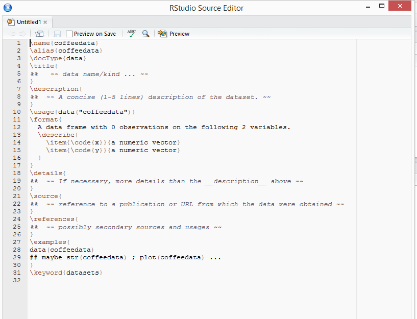 example rstudio rdocument with coffee filled in