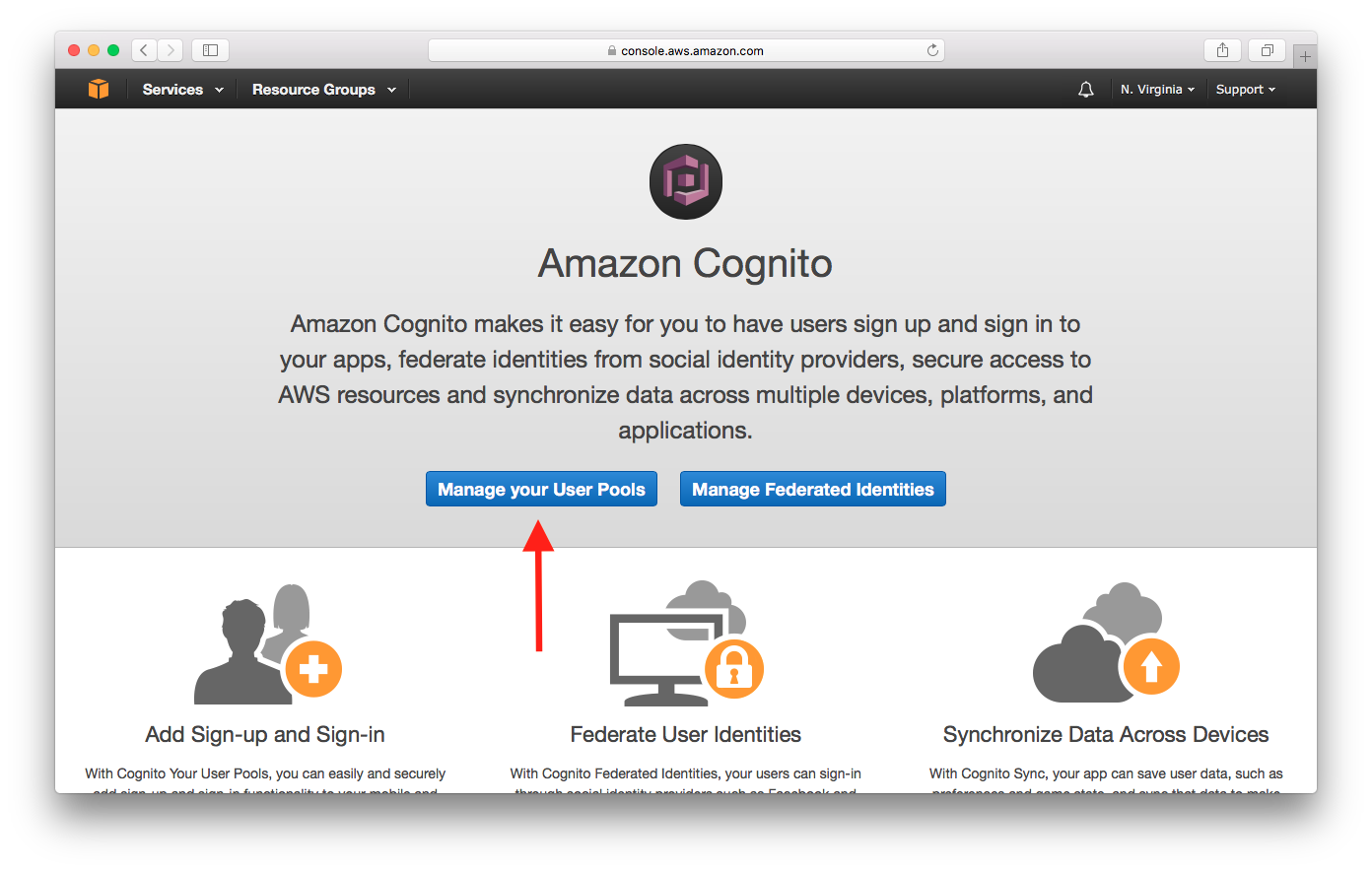 Tela de seleção gerenciar grupos de usuários no Cognito