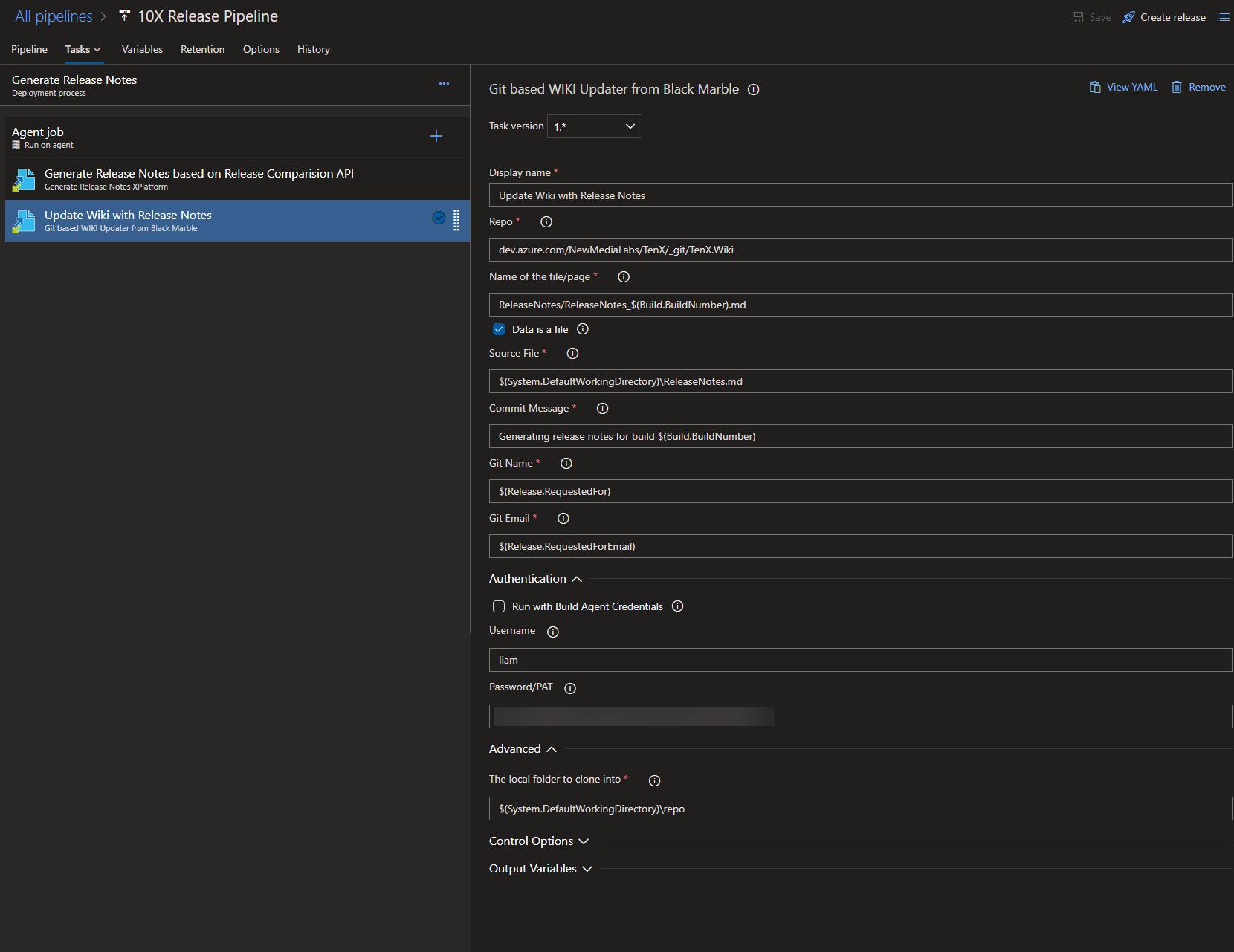 Add to wiki settings