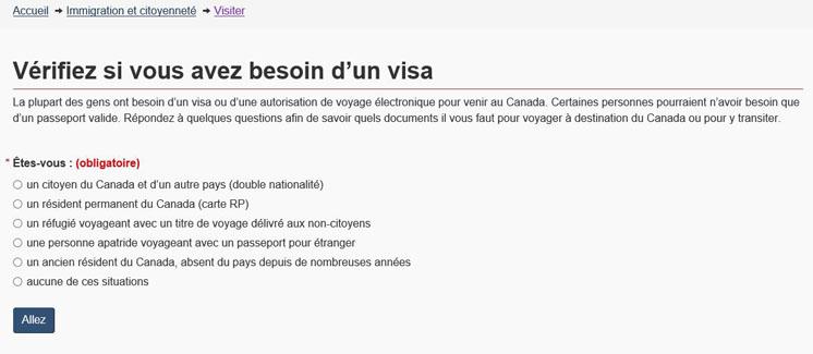 Image montrant la page «Vérifiez si vous avez besoin d'un visa» après l'optimisation.
