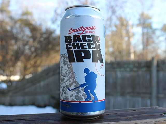 Backcheck IPA, a IPA brewed by Smuttynose Brewing Company
