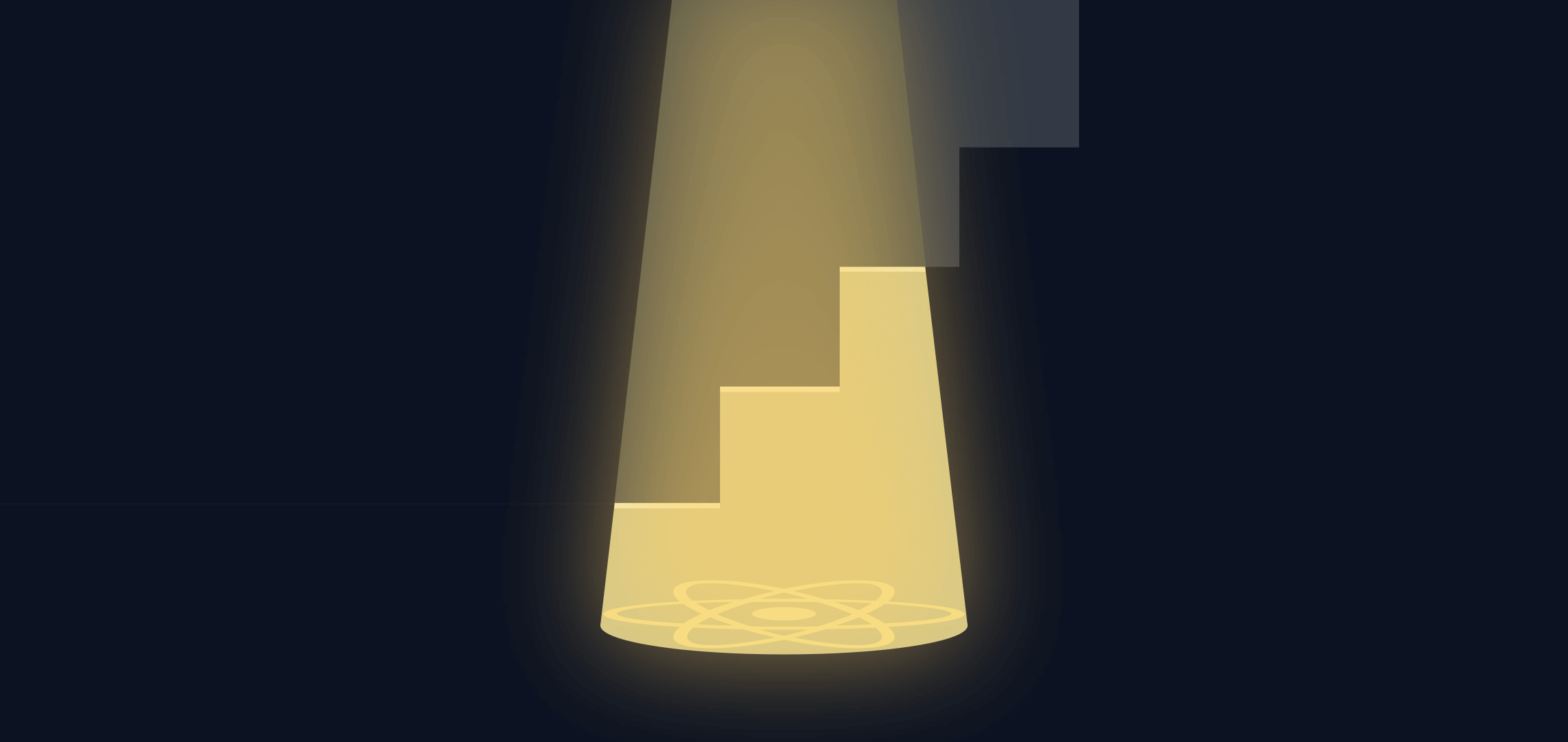 illustration of stairs in darkness with spotlight shedding light as a metaphor for react.js