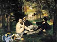 Manet's Lunch on the Grass (Dejuner Sur l'Herbe) caused uproar when it was shown at the Salon des Refuses in 1863