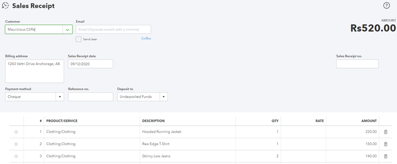 sales receipt created automatically in Quickbooks