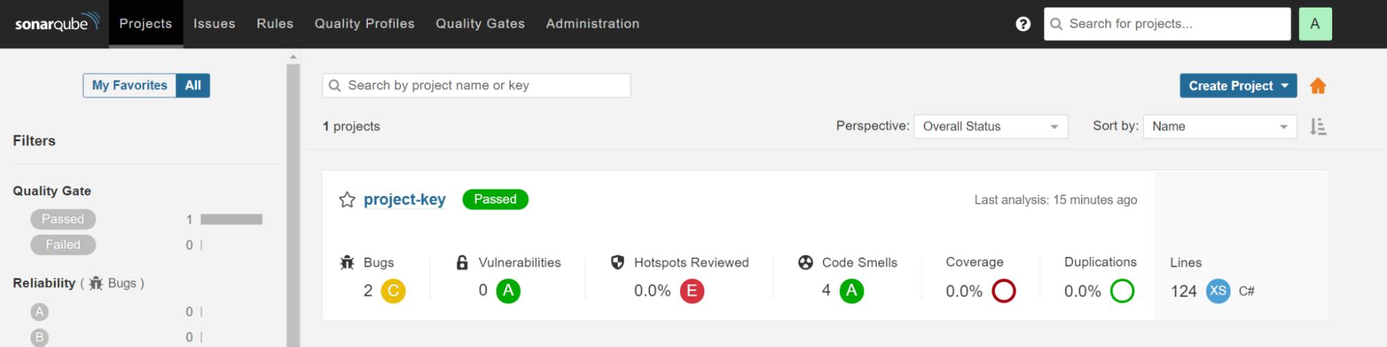 Screenshot of SonarQube Analysis Results