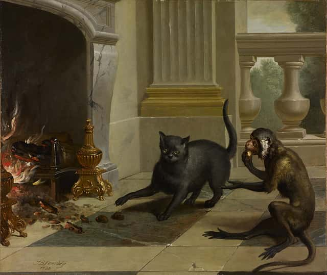 cat and the monkey painting by Oudry