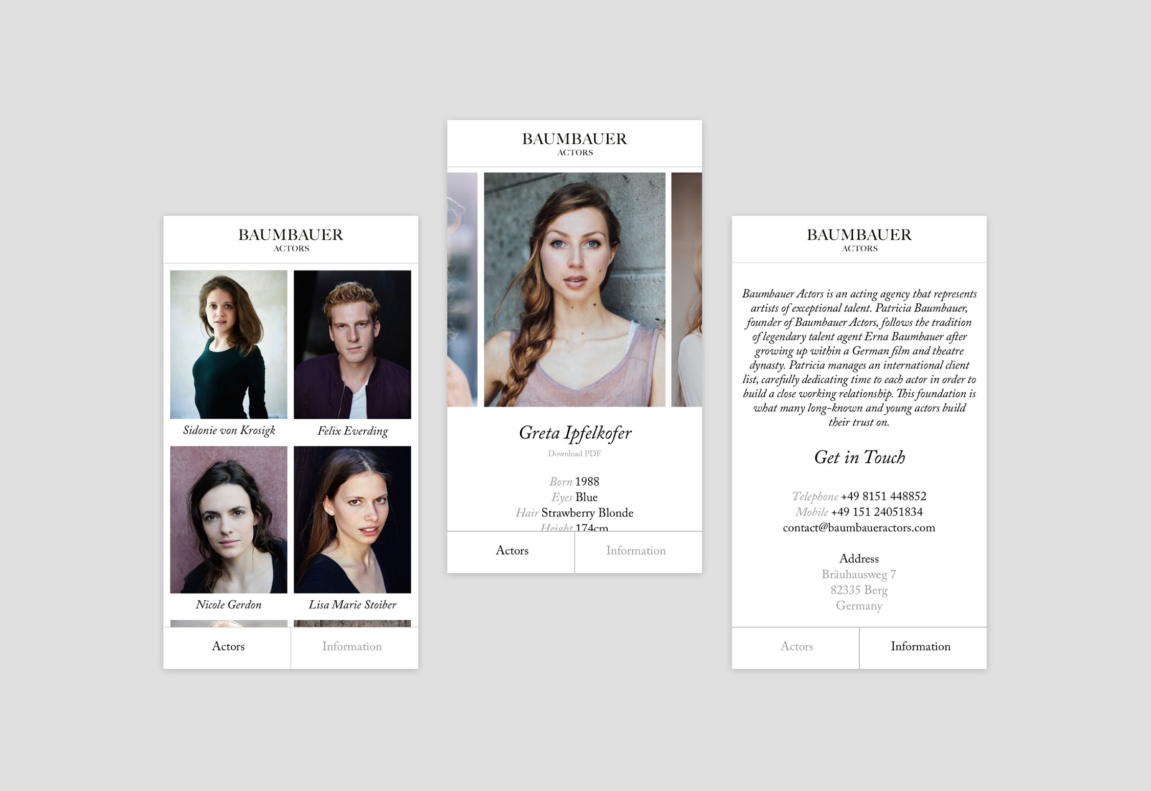 Baumbauer Actors website designed by She Was Only