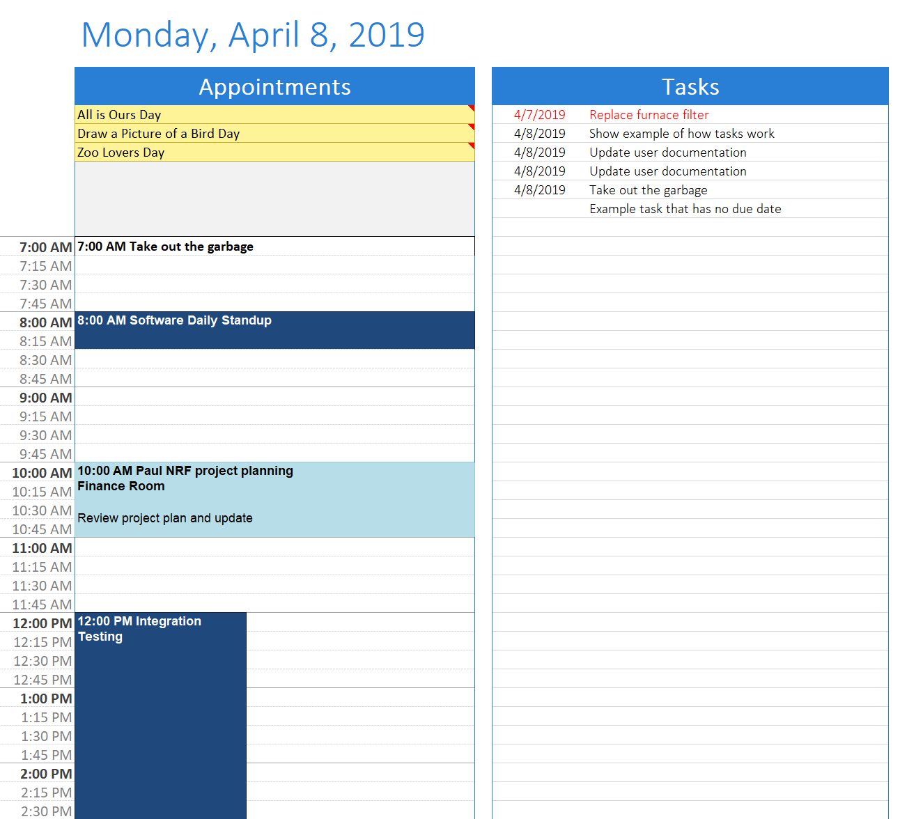 1 Day/Page with Task List Template
