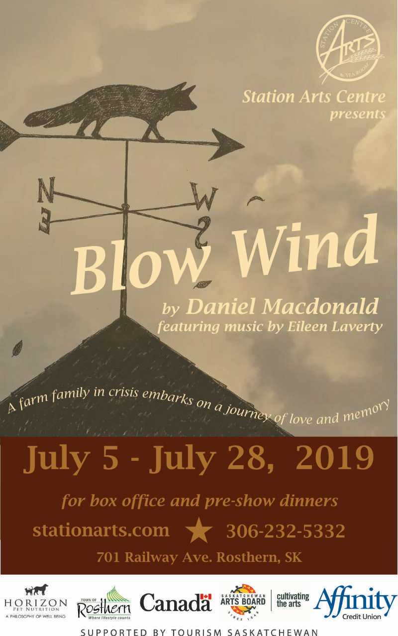 A poster for the production of Blow Wind by Daniel Macdonald