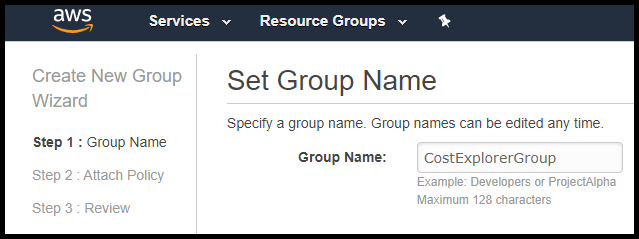 Set group in AWS AIM to display AWS billing info in Slack