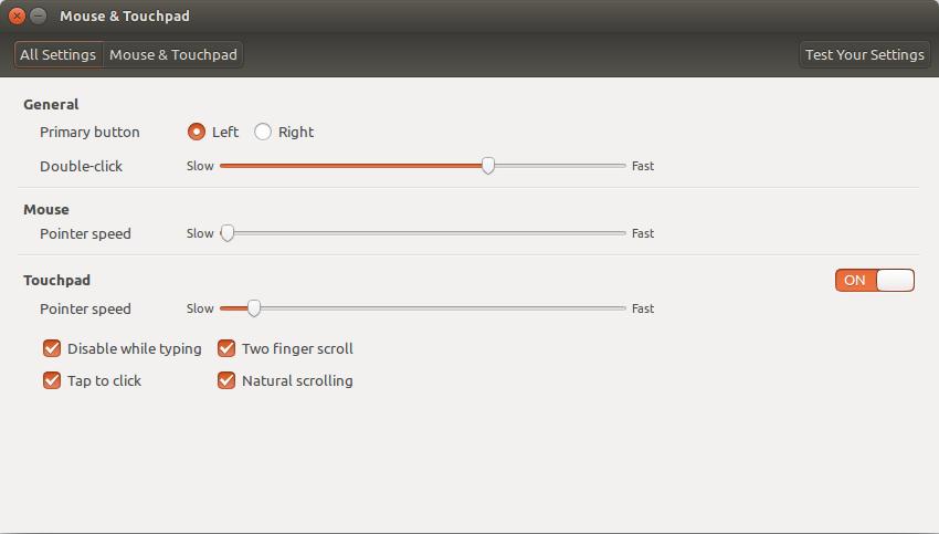 Mouse and Touchpad settings window in Ubuntu 14.04
