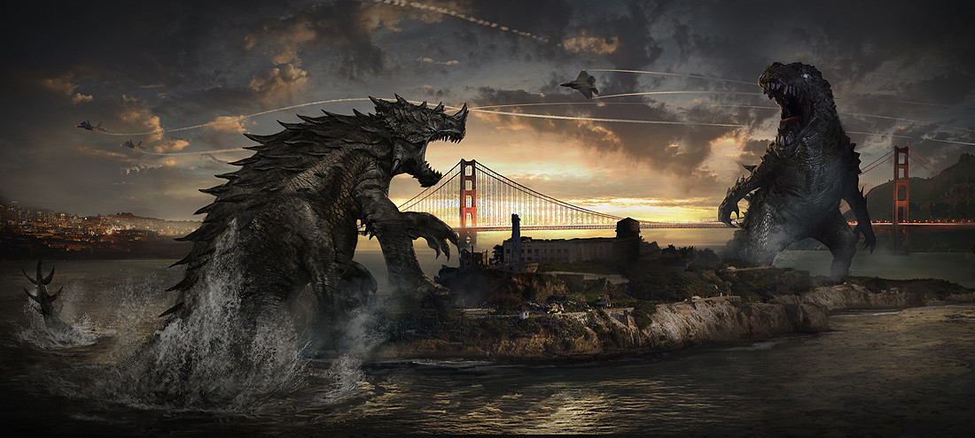 Two kaiju battle near Alcatraz Prison, with the Golden Gate Bridge in the background.