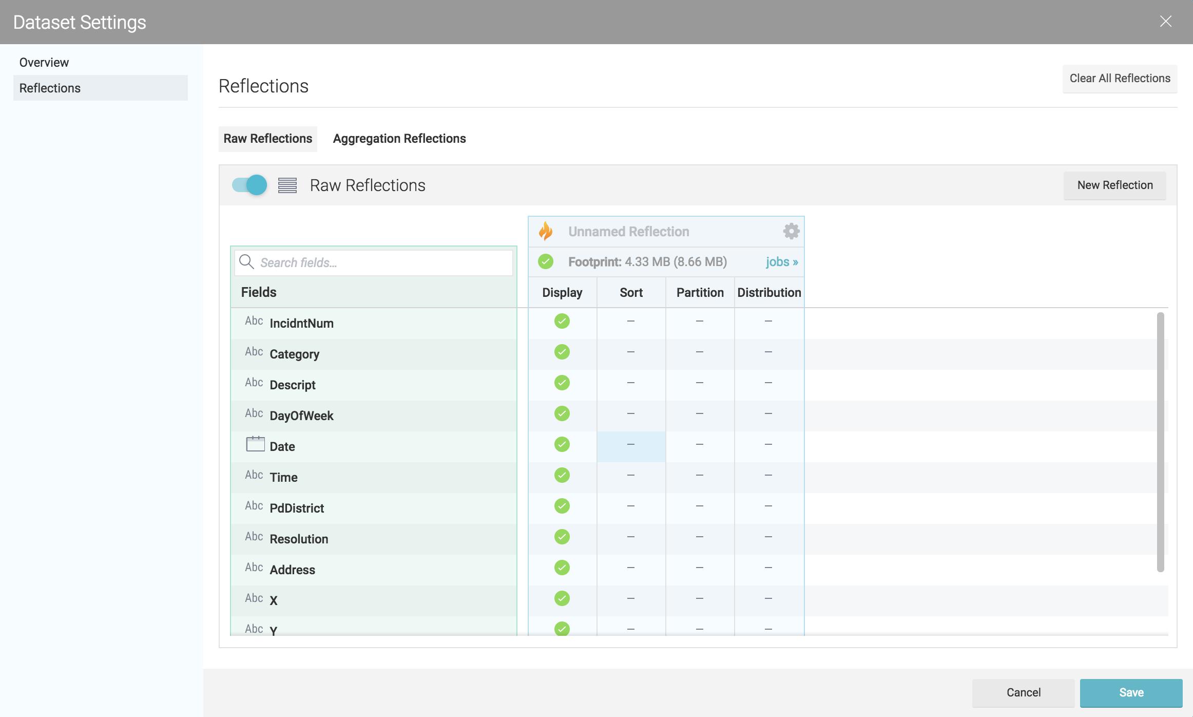 Using Dremio's advanced data reflection settings