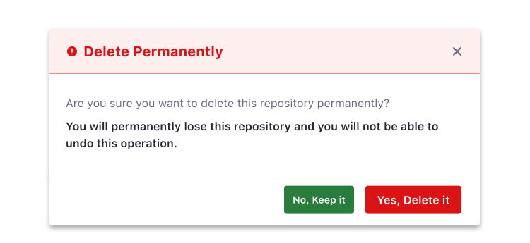 modal for status message with action-based color button and a secondary button Don't
