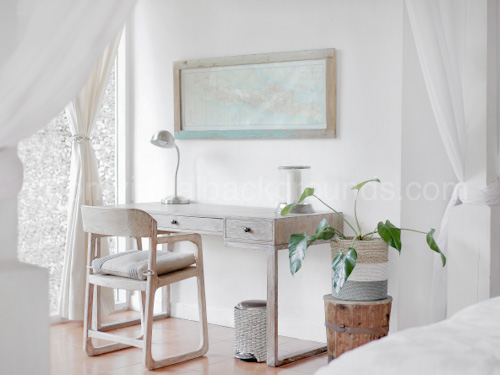 White Home Study Virtual Background for Zoom with wooden desk, chair and drapes