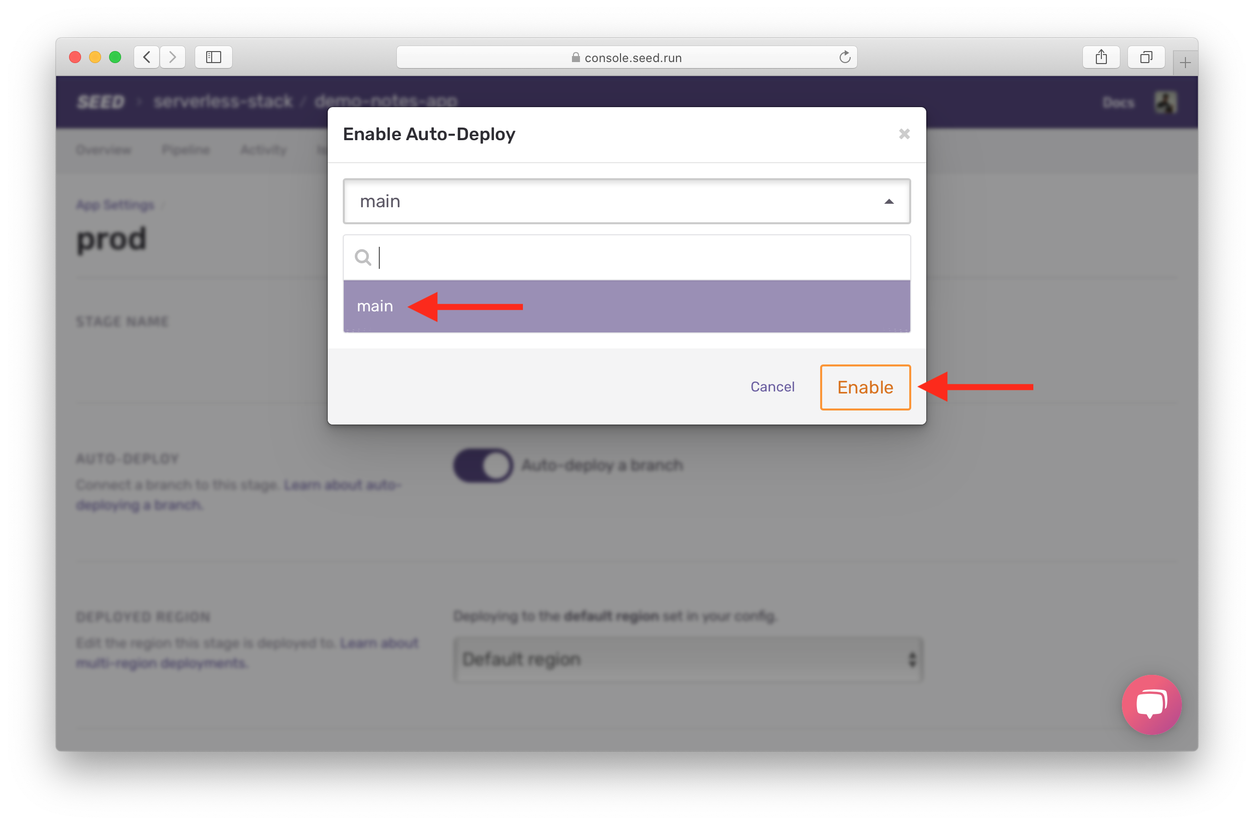 Select branch to auto-deploy to prod
