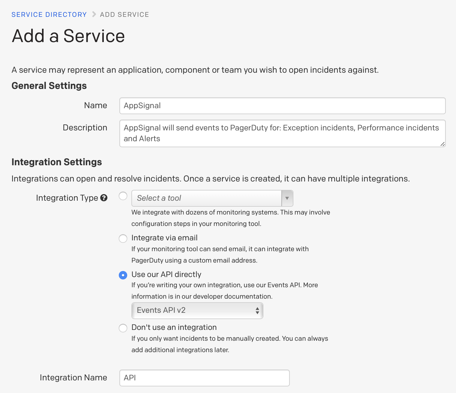 PagerDuty config
