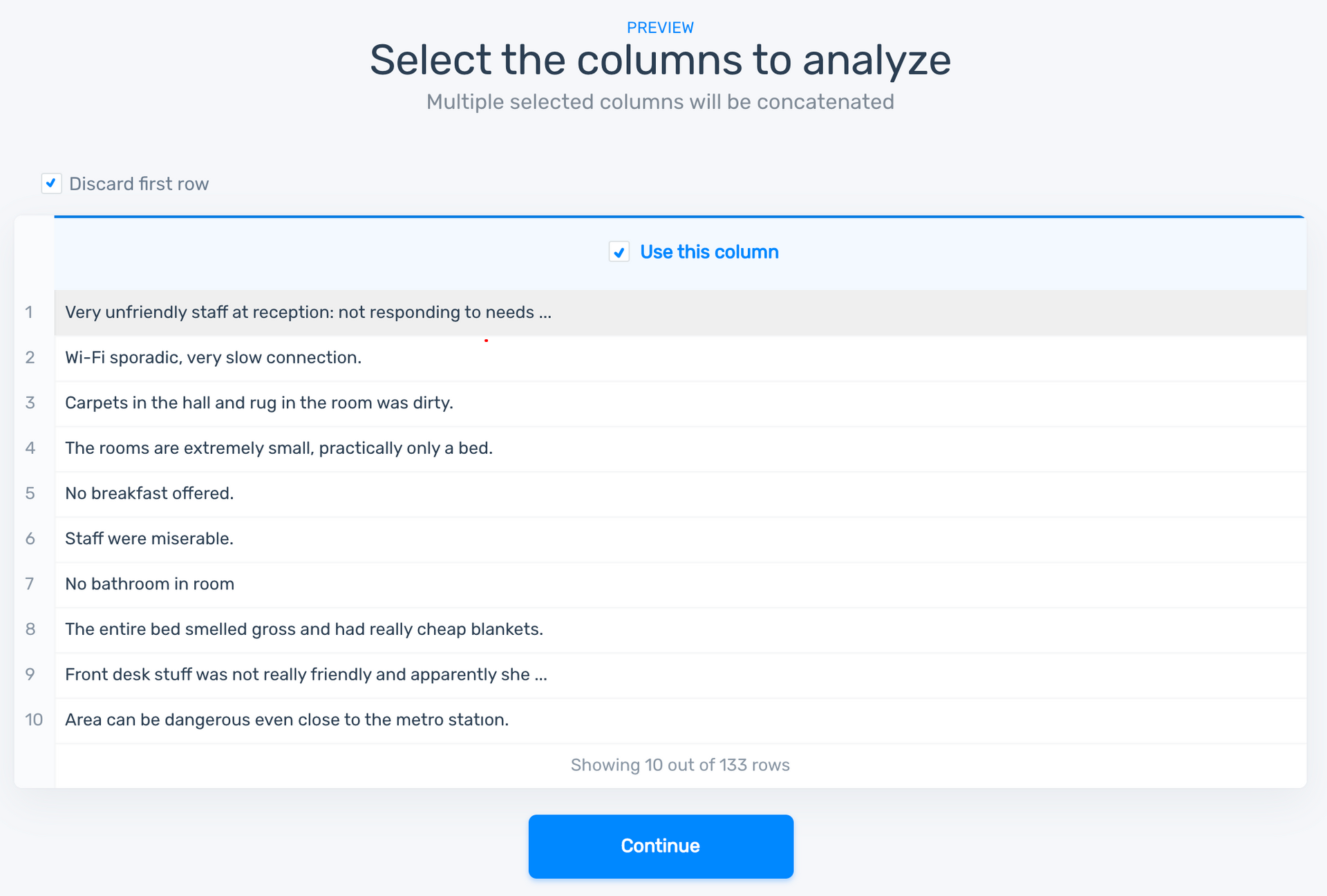 Showing a choice of which columns to use from a CSV file.