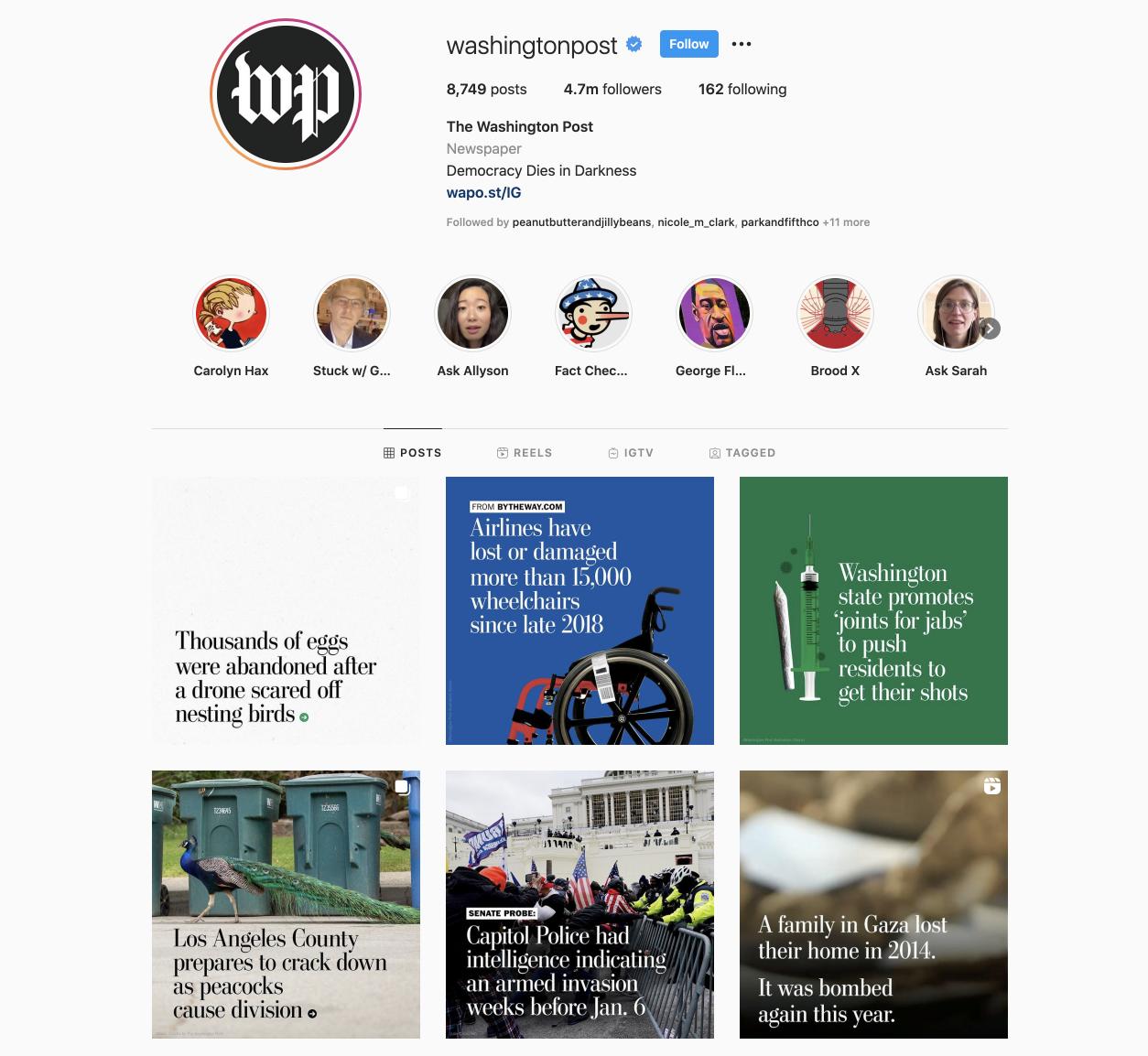 Washingtonpost Instagram profile.