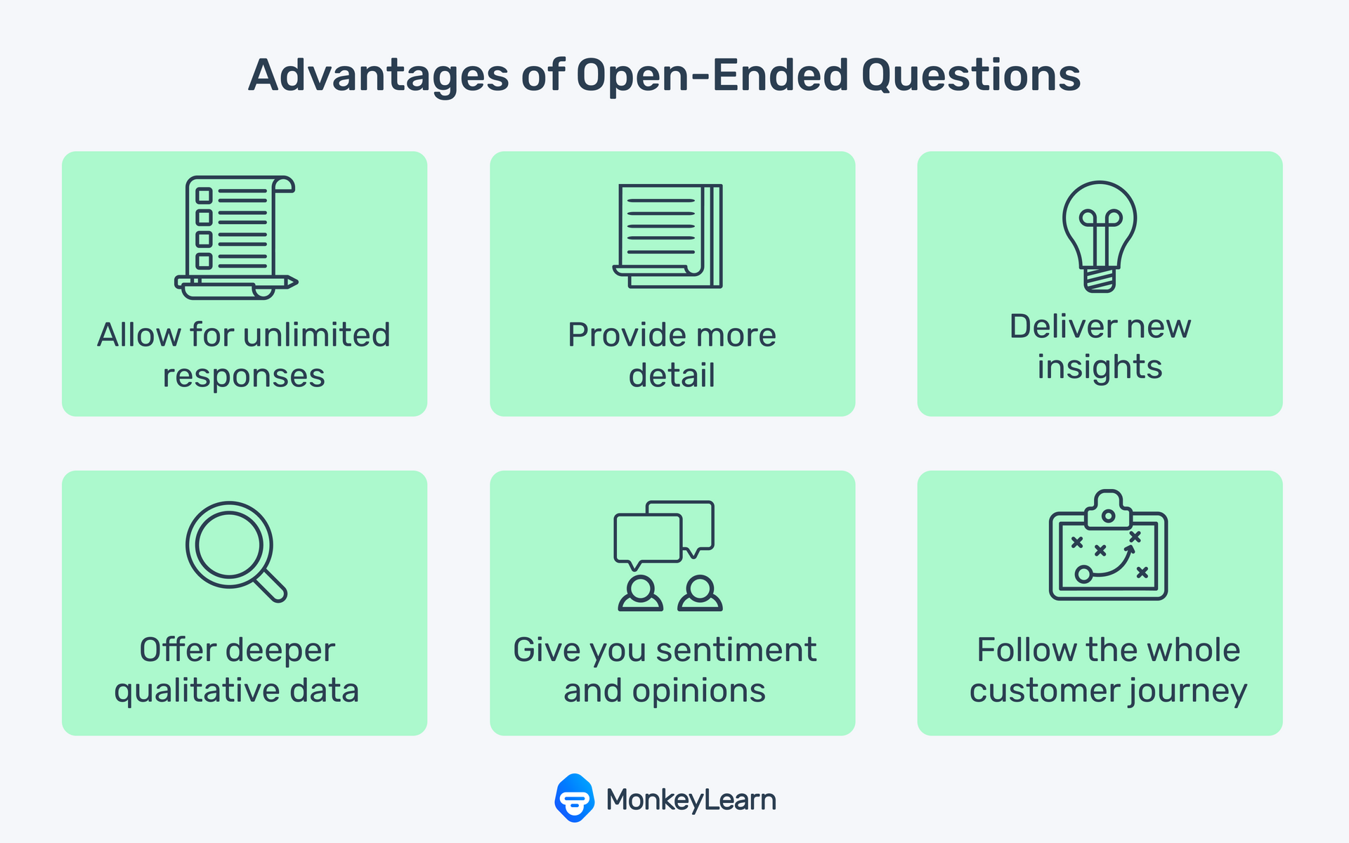 List of advantages of open ended questions.