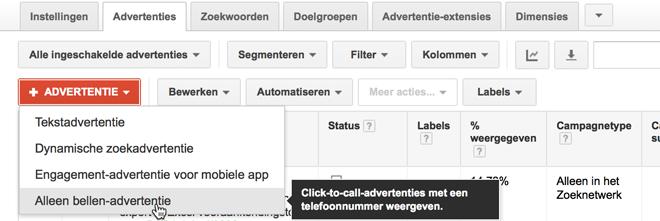 Alleen bellen-advertenties aanmaken in Google Adwords.