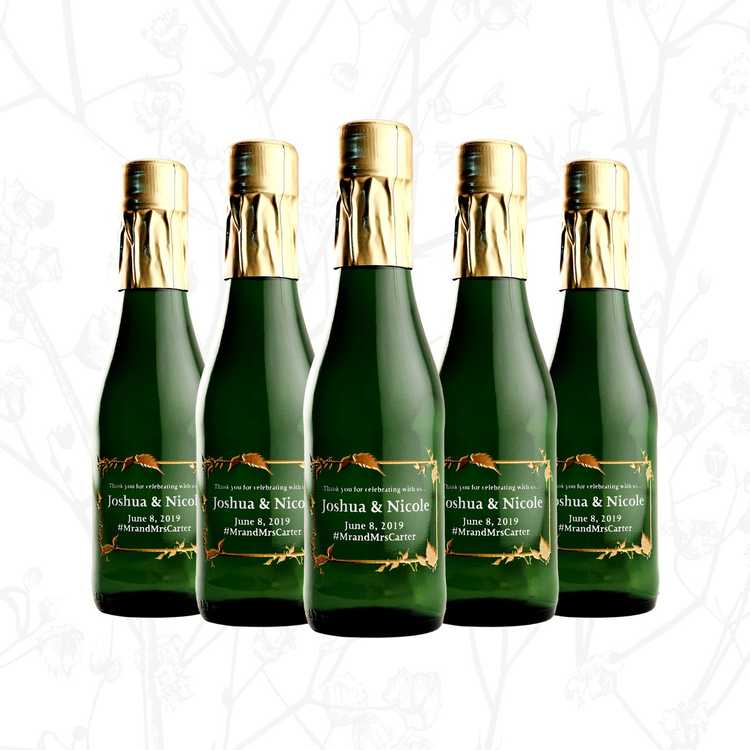 Personalized mini champagne wedding favors by Etching Expressions