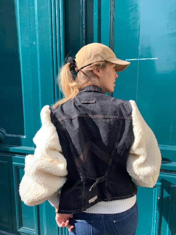 Manteau jean et laine molletonnée