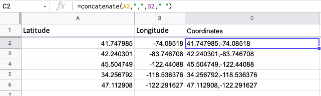 """screenshot of spreadsheet with function shown: =concatenate(A2,"""" """",B2,"""" """",C2,"""" """",D2)"""