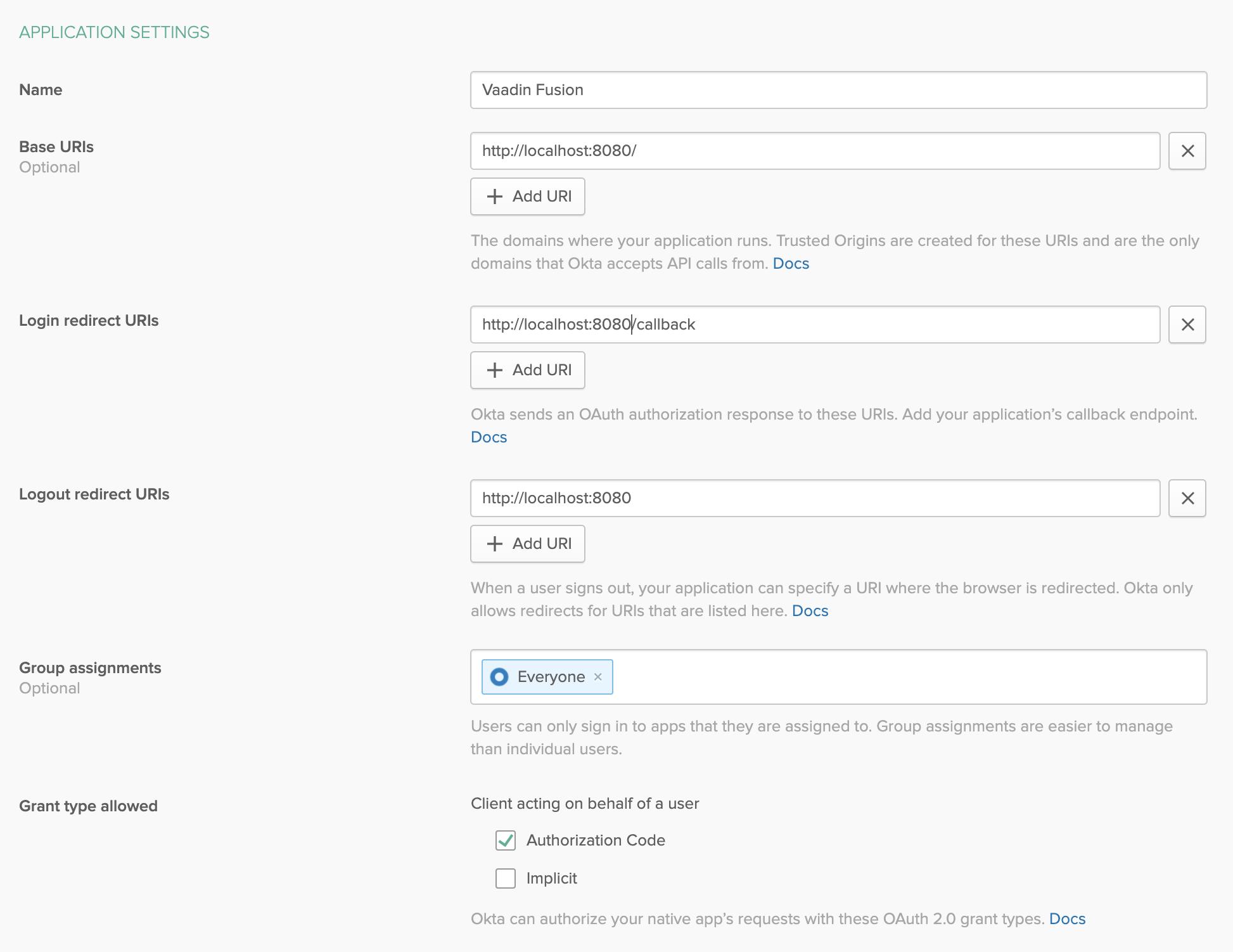 Single-Page App Settings