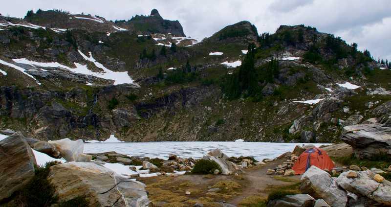 Six Pound's tent at Mica Lake