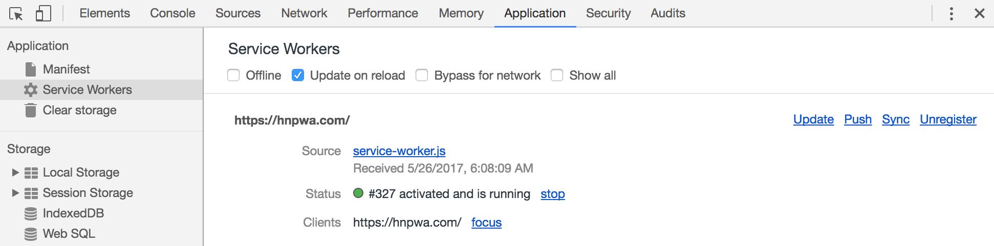 Chrome DevTools Application Tab