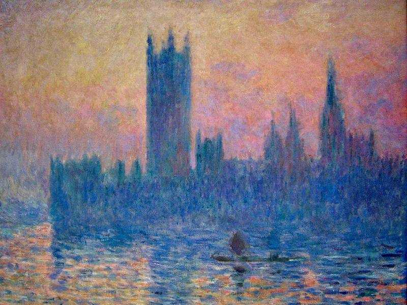 Monet painted in London in 1891 and returned there a number of times over the years to paint the Houses of Parliament and Waterloo Bridge.