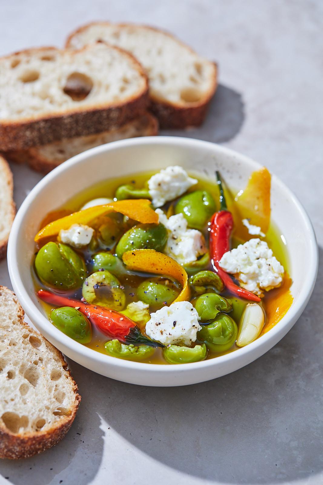 Citrus Marinated Olives and Feta