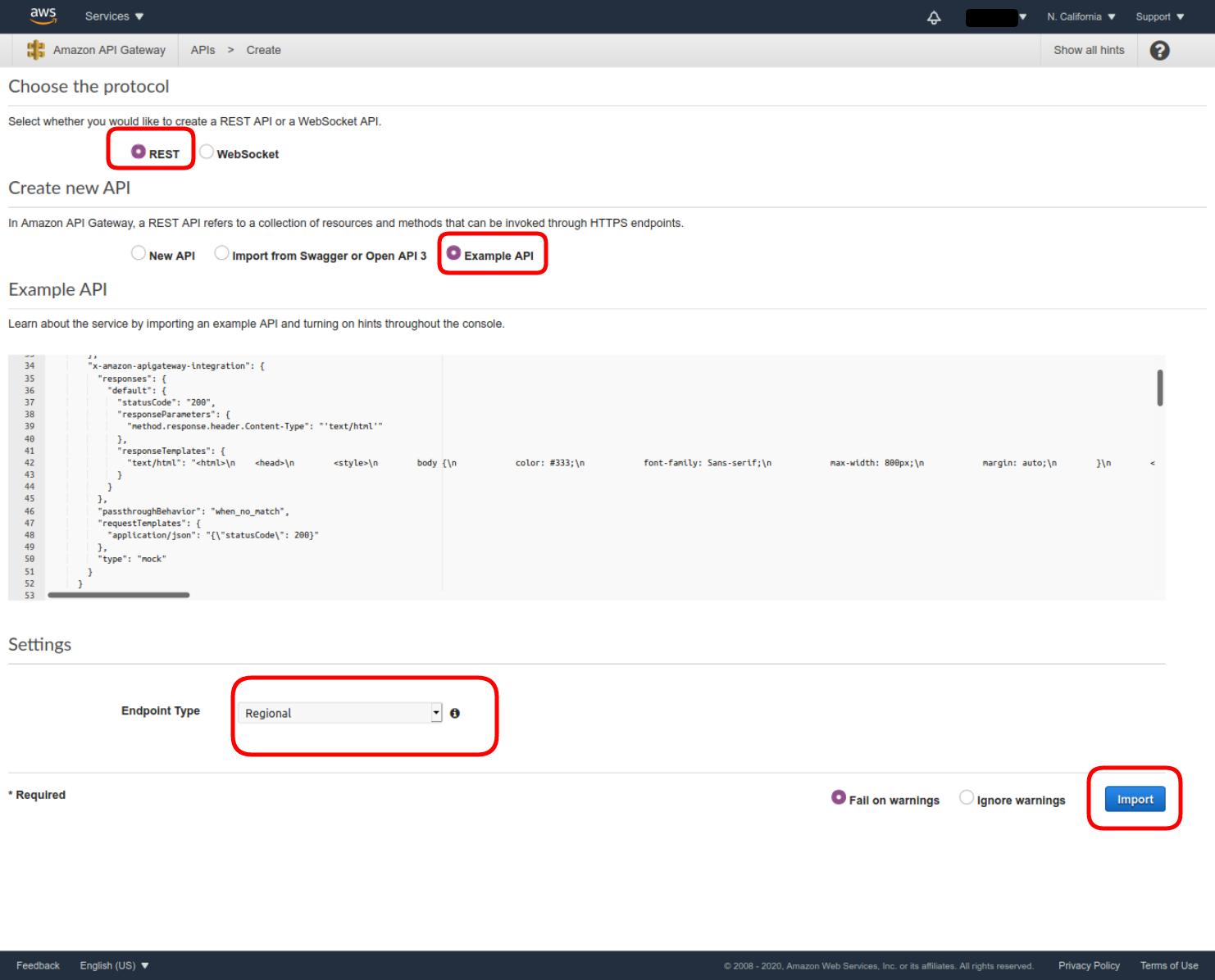 Set the REST API settings