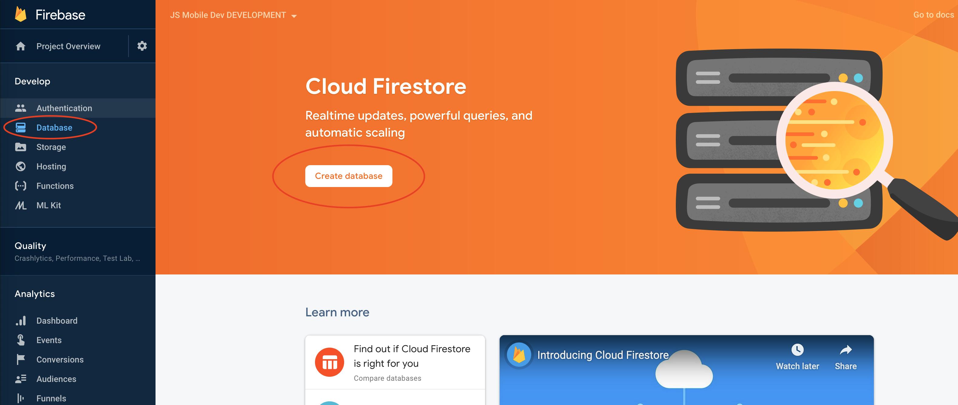 Create a Firestore Instance