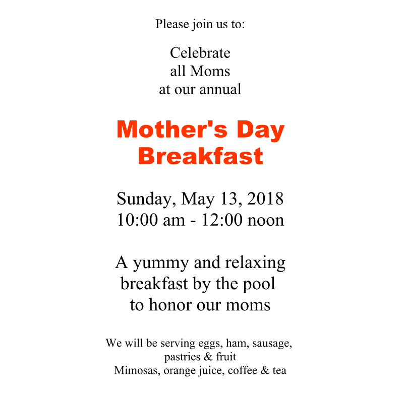 Mothers Day Brunch 2018